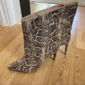 Asymmetrical Snakeskin Booties